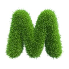 grass letter M isolated on white background