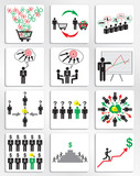 Marketing and management business icons set. Vector