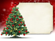 Christmas card - christmas tree and blank paper sheet