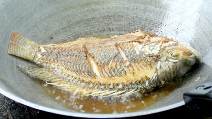 Frying fish in the pan for meal