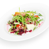 salad with cranberries and bacon. isolated on white background