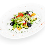 salad with shrimp and mussels. isolated on white background
