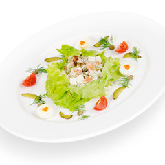 "russian salad ""olivier"". isolated on white background"