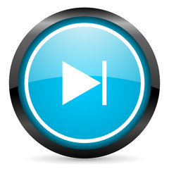 next blue glossy circle icon on white background