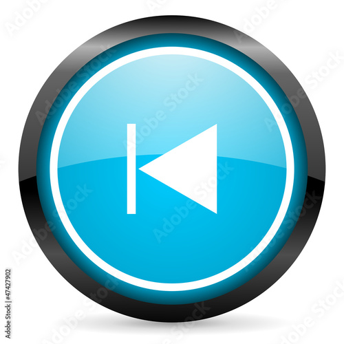 prev blue glossy circle icon on white background