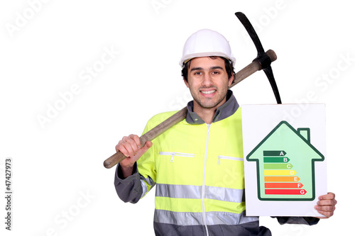 Man with pick-axe and energy rating panel