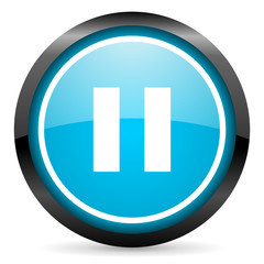 pause blue glossy circle icon on white background