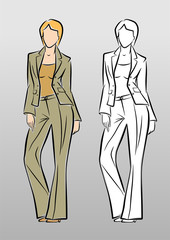 Fashion Model. Vector drawing of a woman in trouser suit.