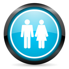 couple blue glossy circle icon on white background