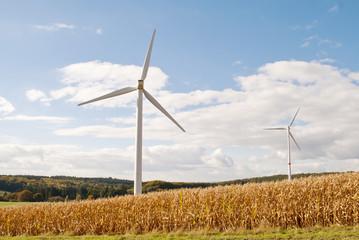 Windrad der megawattklasse mit kleinem Bruder