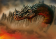 canvas print picture - Dragon in the fire