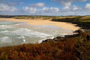 Autumn Crantock beach Cornwall England