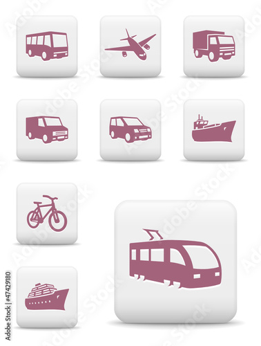 Transportation icons. Vector set of white square buttons