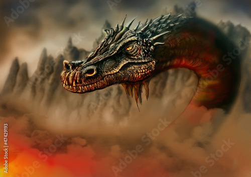 Dragon in the fire - 47429193