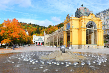 Marianske Lazne Spa, Singing fountain, Czech Republic.
