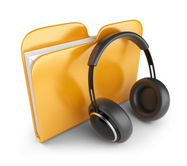 Yellow audio folder with headphones. 3D Icon isolated on white