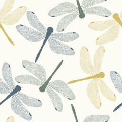 Vector Seamless Pattern with Colored Dragonflies