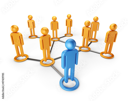 Social network community. Global communication 3D, isolated