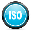 iso blue glossy circle icon on white background