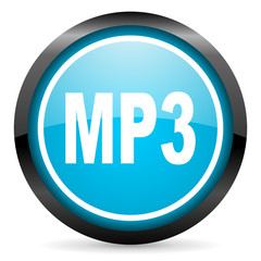 mp3 blue glossy circle icon on white background