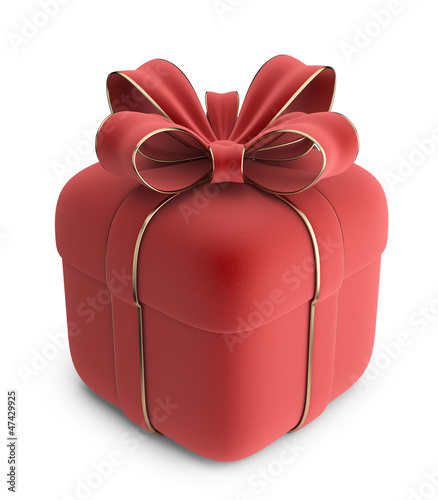 Gift 3D. Red box with bow. Isolated on white background