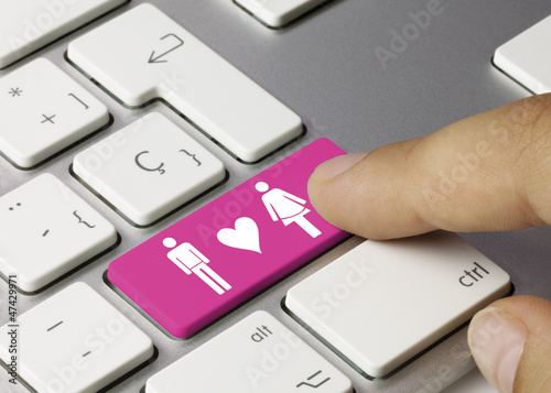 Couple keyboard key. Finger