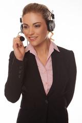 Beautiful businesswoman speaking on a headset