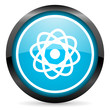 atom blue glossy circle icon on white background