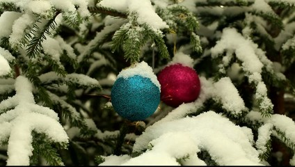 Decorations and sparklers on Christmas trees in a forest