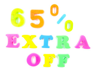 65% extra off written in fridge magnets