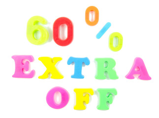 60% extra off written in fridge magnets