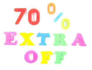 70% extra off written in fridge magnets