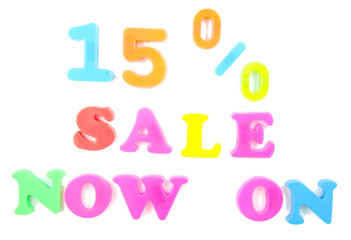 15% sale now on written in fridge magnets