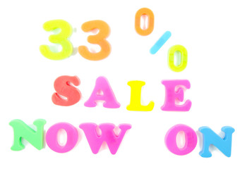 33% sale now on written in fridge magnets