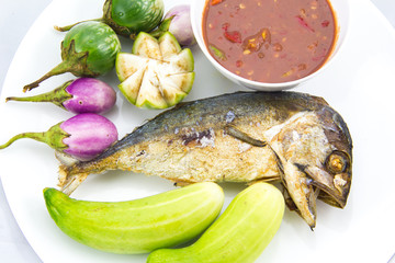 Fried Mackerel fish in Thai food