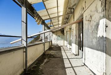 old house being demolished, balcony