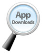 """Magnifying Glass Icon """"App Downloads"""""""