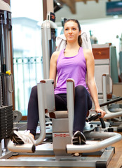 Woman working out in a fitness center