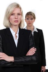 Stern looking businesswomen