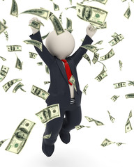 3d business man jumping for victory - money rain