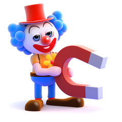 Clown with a giant magnet