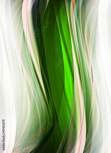 Abstract white and green fractal waves