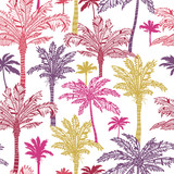 Vector palm trees seamless pattern background with hand drawn