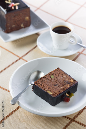 Breakfast with coffee and plumcake