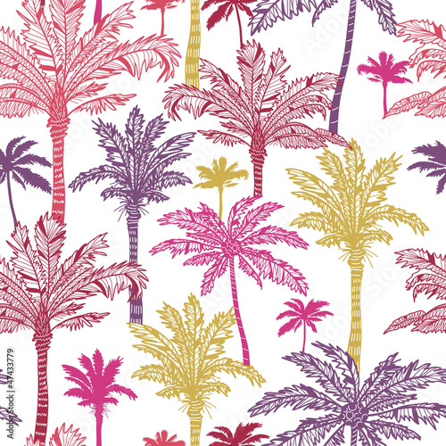 Vector palm trees seamless pattern background with hand drawn - 47433779