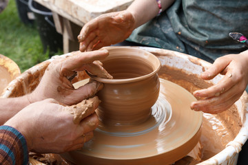 potter made dish from clay