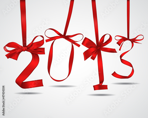 New year red ribbons greeting card