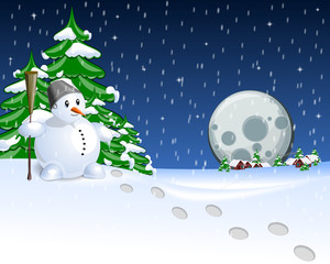 Snow Man and Moon and tree