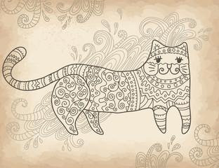 Patterned stylized cat