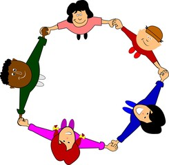 group of children in circle holding hands deicting unity
